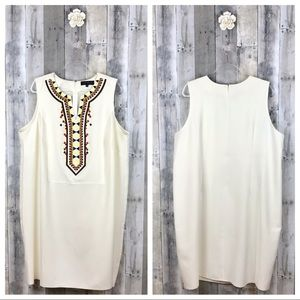 Eloquii Deep V Embroidered Sheath Dress Sz  24 EUC